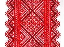 Ukrainian traditional national red and black ornament embroidery Royalty Free Stock Image