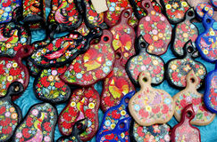 Ukrainian traditional painting on wooden plates Stock Images