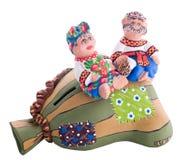 Ukrainian traditional pottery ceramics with text Royalty Free Stock Photos