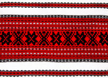 Ukrainian traditional red and black ornament embroidery closeup Stock Photography