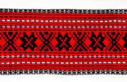 Ukrainian traditional red and black ornament embroidery Stock Photo