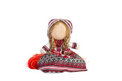 Ukrainian traditional skeined toy doll. Isolated over white Stock Photo