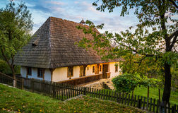 Ukrainian traditional village house at autumn. Ukrainian traditional village house at autumn Stock Image