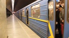Ukrainian underground station. UKRAINE, KIEV, MARCH 24, 2010: Underground station in Kiev, Ukraine, March 24, 2010 stock video footage