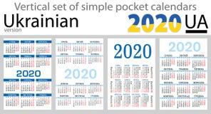 Ukrainian vertical pocket calendars 2020 stock photo