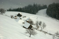Ukrainian village covered with the snow,Western Ukraine Royalty Free Stock Photos