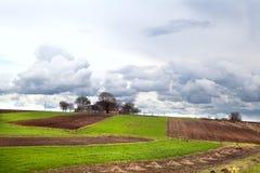 Ukrainian village with plowed fields Royalty Free Stock Photos