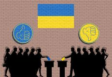 Ukrainian voters crowd silhouette in election with thumb icons and Ukraine flag graffiti. All the silhouette objects, icons and background are in different stock illustration
