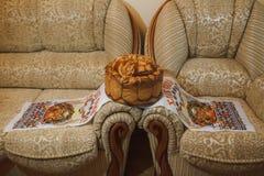 Ukrainian wedding bread. Traditional symbol on wedding Stock Image