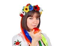 Ukrainian woman with apple Stock Photos
