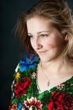 Ukrainian woman on black background Royalty Free Stock Photo