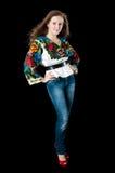 Ukrainian woman on black background Royalty Free Stock Image