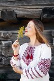 Ukrainian woman in ethnic village stock photo