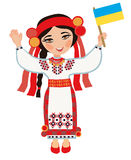 Ukrainian woman with the flag of Ukraine Royalty Free Stock Photos
