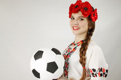 Ukrainian woman holding a ball Stock Images