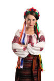 Ukrainian woman in national costume. Portrait of joyful young Ukrainian woman in national costume. Isolated on white background Royalty Free Stock Photo