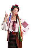 Ukrainian woman in national costume. Portrait of joyful young Ukrainian woman in national costume. Isolated on white background Royalty Free Stock Photos