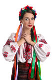 Ukrainian woman in national costume. Portrait of joyful young Ukrainian woman in national costume. Isolated on white background Stock Photography