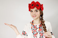 Ukrainian woman points hand Stock Image