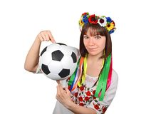 Ukrainian woman with soccer ball Royalty Free Stock Photo