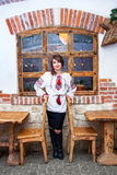 Ukrainian woman wearing embroidered shirt vyshyvanka Stock Photos