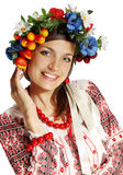 Ukrainian woman in a wreath Royalty Free Stock Photo