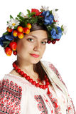 Ukrainian woman in a wreath Royalty Free Stock Images