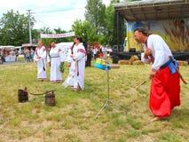 Ukrainian women - Borispol festival City Day. Ukrainian Cossack - musician and Ukrainian_women at the festival City Day.nnTraditions. embroidery.nembroidered Stock Photography