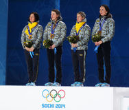 Ukrainian women's biathlon team Royalty Free Stock Image