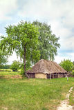 Ukrainian wooden barn Thatched locked uph Royalty Free Stock Image