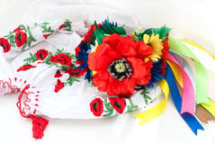 Ukrainian wreath and embroidered shirt for girls Stock Images