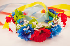 Ukrainian wreath. Of flowers with ribbons Royalty Free Stock Photography