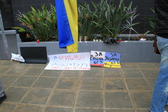 Ukrainians in Cyprus show solidarity Royalty Free Stock Image