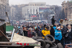 Ukrainians at Euromaidan in Kiev Stock Photo