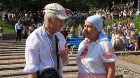 Ukrainians in traditional shirt stock video