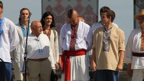 Ukrainians in traditional shirt stock footage