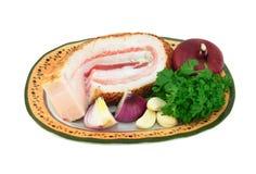 Ukrainien traditionnel de porc de repas de saindoux Image stock