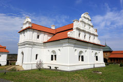 Ukrainin Church with white walls and red tile roof Royalty Free Stock Photos