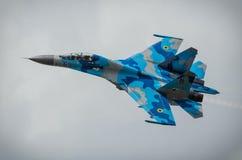 Ukrainische Anzeige SU-27 während Radom-Flugschau 2013 Stockfotos