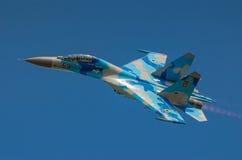 Ukrainische Anzeige SU-27 während Radom-Flugschau 2013 Lizenzfreies Stockfoto