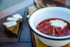 Ukrainische Borschtsuppe und -Frühlingszwiebel auf dem Tisch lizenzfreie stockfotos