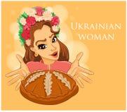 Ukrainische gastfreundliche Frau, die Brot hält Stockfotografie