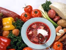 Ukrainische Gemüsesuppe Stockfotos