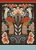 Ukrainische Hand gezeichnetes ethnisches dekoratives Muster mit zwei Vögeln Stockbild