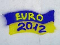 Ukrainische Markierungsfahne mit EURO2012 Text, Graffiti, Stockfotos