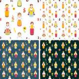 Ukrainische nationale Kostüme Der transparente einfache Schatten ersetzen Hintergrund Ukrainische Charaktere Nahtloser Hintergrun lizenzfreie abbildung