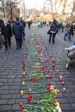 Ukrainische Revolution, Euromaidan nach einem Angriff durch Regierung f Lizenzfreie Stockfotografie