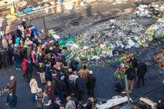 Ukrainische Revolution, Euromaidan nach einem Angriff durch Regierung f Stockbilder