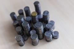 Ukrainische Silbermünzen Pyramide des Geldes Stockfotos