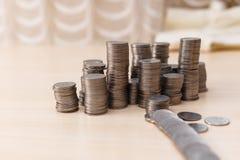 Ukrainische Silbermünzen Pyramide des Geldes Lizenzfreie Stockfotos